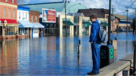 Flooding along coast